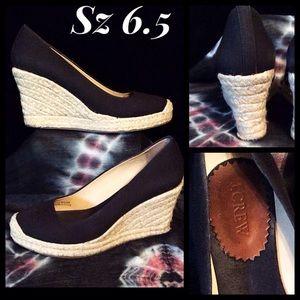 J. Crew Black Espadrilles Wedge Shoes SZ 6.5
